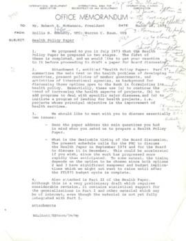 Hollis B. Chenery Papers - McNamara Discussions - Notebooks / Memoranda - July 1973 - March 1974