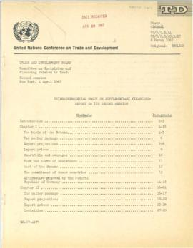 Irving Friedman UNCTAD Files: New York Meeting on Supplementary Finance, April 1967 - Documents a...