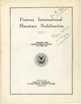 Bretton Woods Documents - Federal Reserve Report on U.S. and U.K. Proposal for Postwar Internatio...